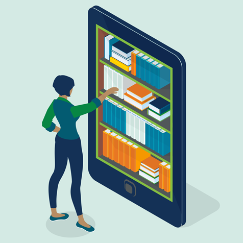 Illustration of woman with giant Ipad
