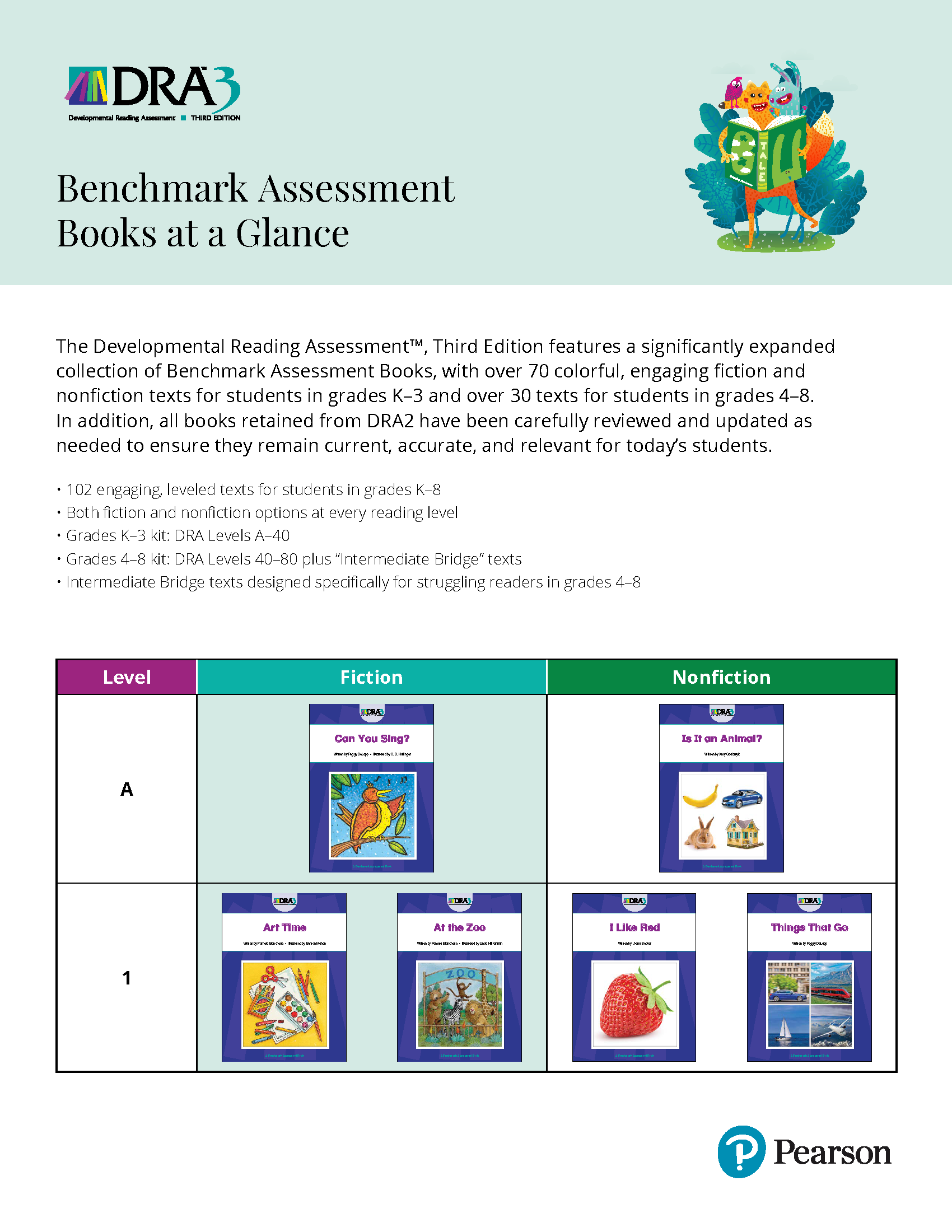 First page of DRA3 Benchmark Assessment Books PDF