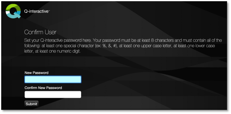 Q-interactive change password screen
