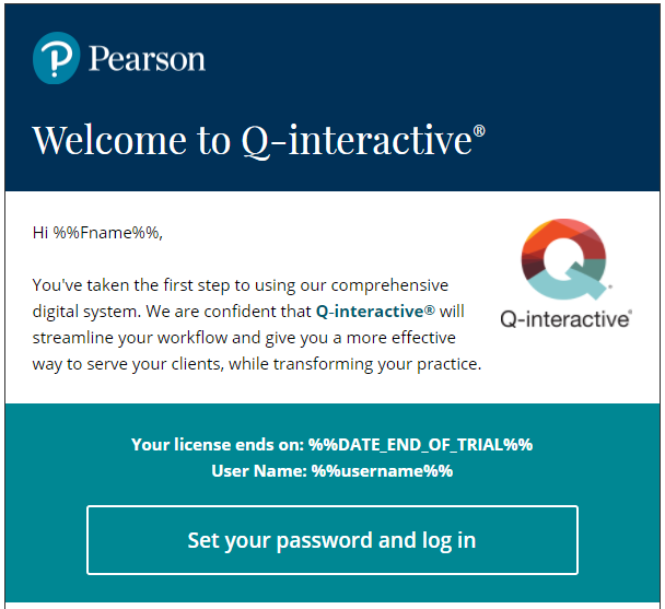 Q-interactive Sample Welcome email